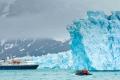 National Geographic Explorere at Monoco Glacier, Leifdefjord, Northwest Spitsbergen National Park, Svalbard Archipelago, Norway