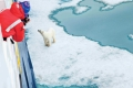 Polar Bear (Ursis maritimus), close apporach to National Geographic Explorer, Svalbard Archipelago, Norway